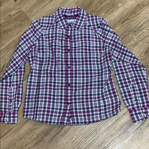 Columbia Purple Checked Omni Shade Top Size Large